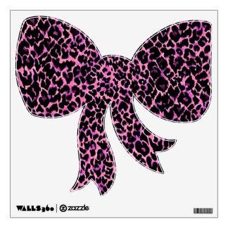 Pink Cheetah Pattern Bow Wall Sticker