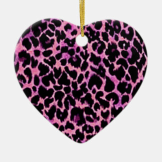 Pink Cheetah Pattern Double-Sided Heart Ceramic Christmas Ornament
