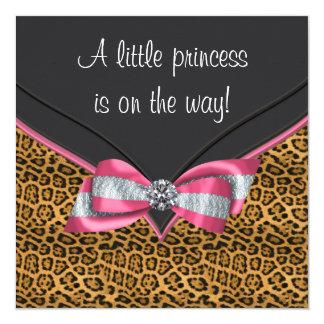 Pink Cheetah Princess Baby Shower Card