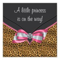 Pink Cheetah Princess Baby Shower Invitation