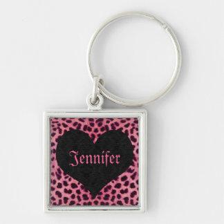 Pink Cheetah Print Black Heart - Custom Name Keychain