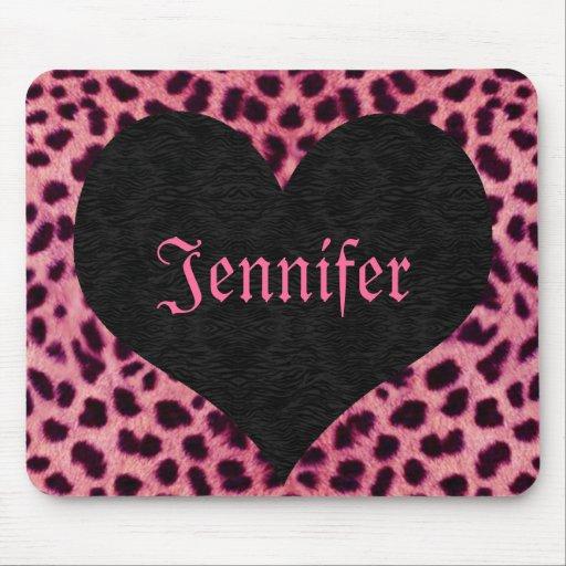 Pink Cheetah Print Black Heart - Custom Name Mouse Pad