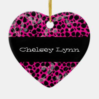 Pink Cheetah Print Christmas Ornament