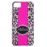 Pink Cheetah Print Diamond Monogram iPhone 5C Cover