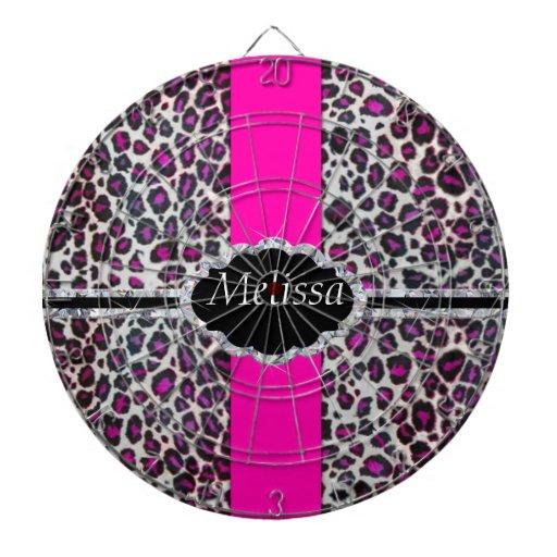 Pink Cheetah Print Diamond Monogram Dartboard