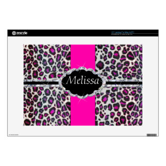 "Pink Cheetah Print Diamond Monogram Decal For 15"" Laptop"