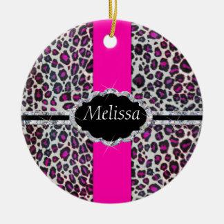 Pink Cheetah Print Diamond Monogram Double-Sided Ceramic Round Christmas Ornament