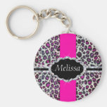 Pink Cheetah Print Diamond Monogram Basic Round Button Keychain