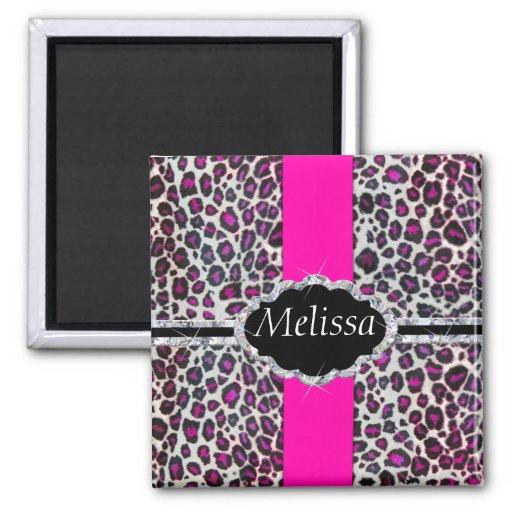Pink Cheetah Print Diamond Monogram Refrigerator Magnets