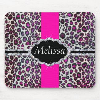 Pink Cheetah Print Diamond Monogram Mouse Pad