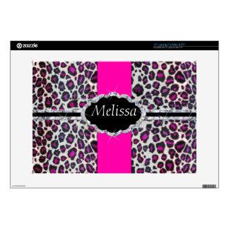 Pink Cheetah Print Diamond Monogram Laptop Decal