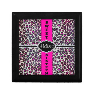 Pink Cheetah Print Diamond Sweet Sixteen Monogram Gift Box