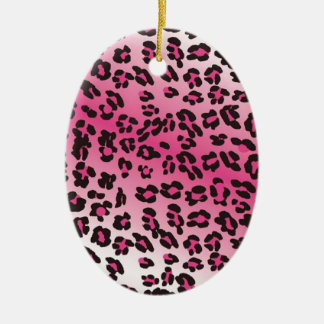 Pink Cheetah Print Double-Sided Oval Ceramic Christmas Ornament