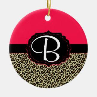 Pink & Cheetah Print Monogram Ornament