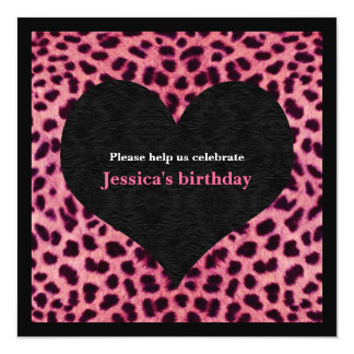 Pink Cheetah Print Party Invitation