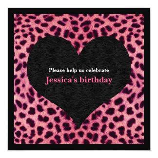 Pink Cheetah Print Party Invitation