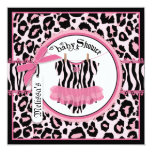 Pink Cheetah Print Rock Star Tutu Baby Shower Card