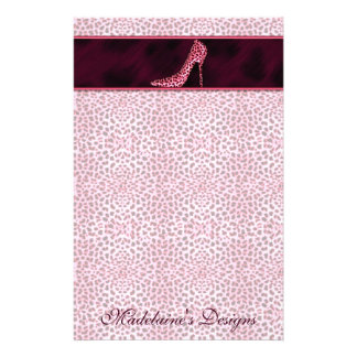 Pink Cheetah Print with Name and Pump Stationery