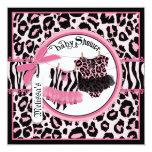 Pink Cheetah Rock Star Tutu Twins Baby Shower Card