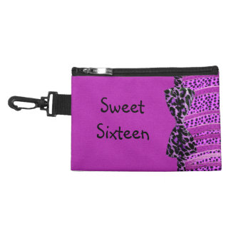 Pink Cheetah Sweet Sixteen Zebra Stripes Accessory Bag