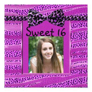 Pink Cheetah Sweet Sixteen Zebra Stripes Invitation