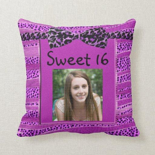Pink Cheetah Sweet Sixteen Zebra Stripes Throw Pillows