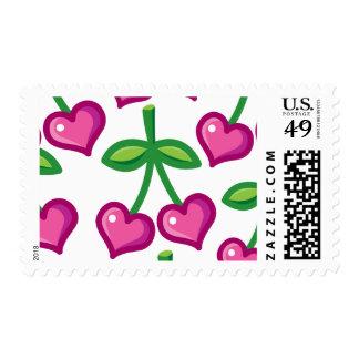 pink cherries stamp