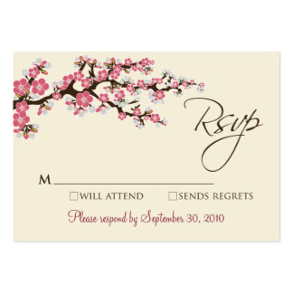 """Pink Cherry Blossom 3.5 x 2.5"""" RSVP Card Large Business Card"""