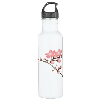 Pink Cherry Blossom  Aluminum 24oz Stainless Steel Water Bottle