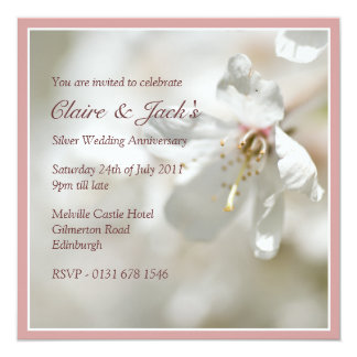 Pink Cherry Blossom Anniversary Party 13 Cm X 13 Cm Square Invitation Card