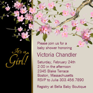 Cherry blossom baby shower invitations zazzle pink cherry blossom baby shower invitations filmwisefo