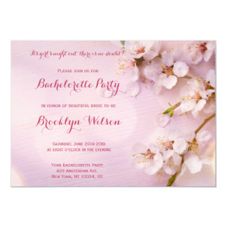 Pink Cherry Blossom Bachelorette Party Invitations