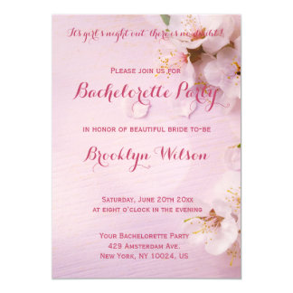 Pink Cherry Blossom Bachelorette Party Invites