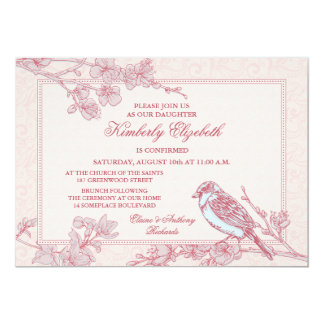 Pink Cherry Blossom Bird Confirmation Invitation