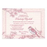 Pink Cherry Blossom Bird First Communion Invitations