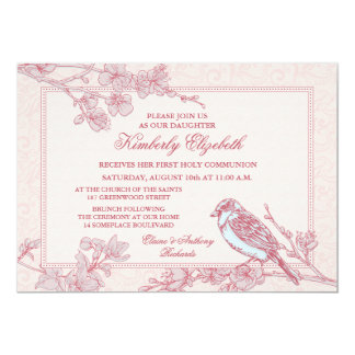 Pink Cherry Blossom Bird First Communion Invitations