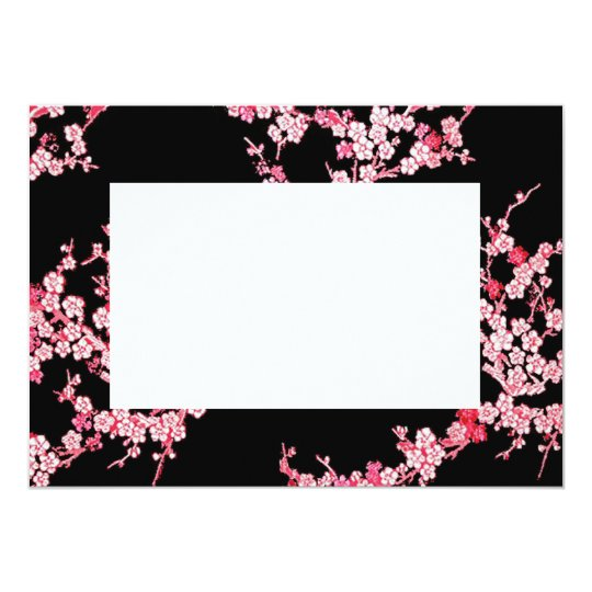 Pink Cherry Blossom Border Invitation Zazzle Com
