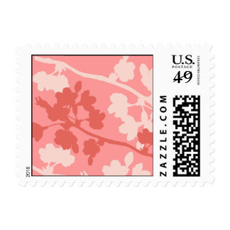 Pink Cherry Blossom Branches Wedding Postage