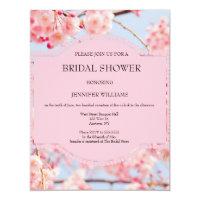 Pink cherry blossom bridal shower invitations