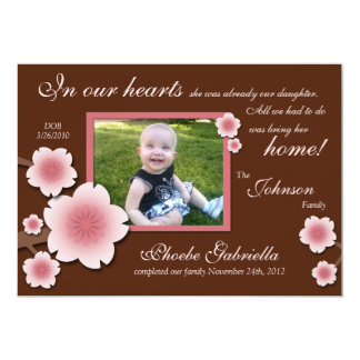 Pink Cherry Blossom & Brown Adoption Announcements