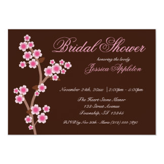 Pink Cherry Blossom Brown Bridal Shower Card