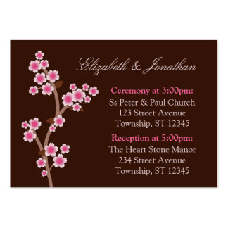 Pink Cherry Blossom Brown Wedding Address Cards Business Card