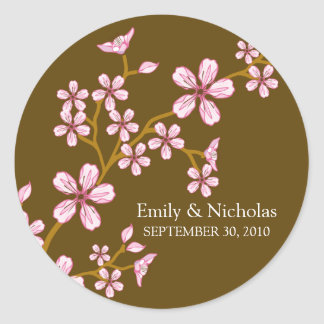 Pink Cherry Blossom/Brown Wedding Invitation Seal Classic Round Sticker