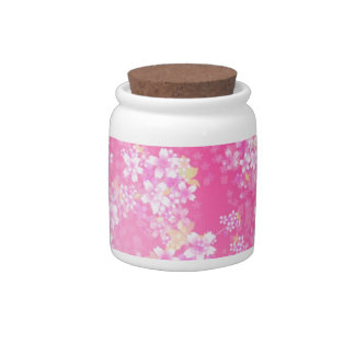 Pink Cherry Blossom Candy Jar