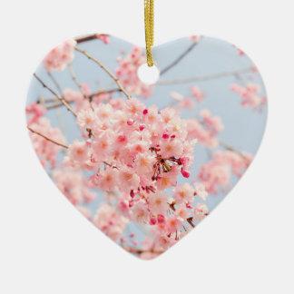 Pink Cherry Blossom Ceramic Ornament