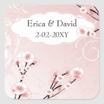 pink cherry blossom envelopes seals