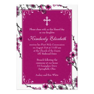 Pink Cherry Blossom First Communion Invitation