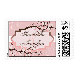 Pink Cherry Blossom Floral Wedding Postage