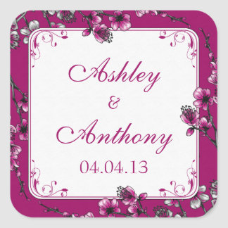 Pink Cherry Blossom Floral Wedding Seal Stickers