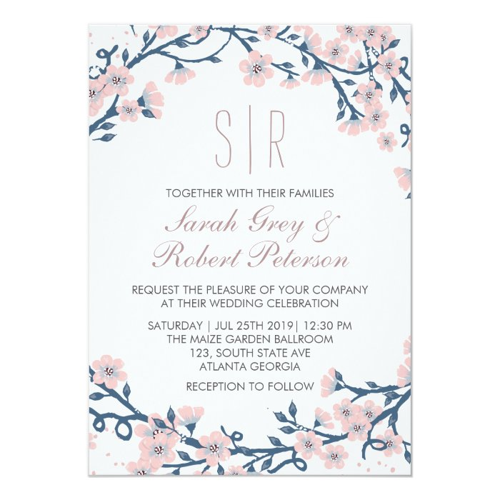 pink cherry blossom flower wedding invitation zazzle. Black Bedroom Furniture Sets. Home Design Ideas
